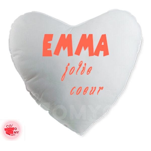 Coussin blanc cœur personnalisé