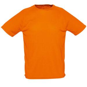 t-shirt-sport-personnalisé-face-orange-foncé-tissu-nids-d'abeilles-respirant-omygift.be